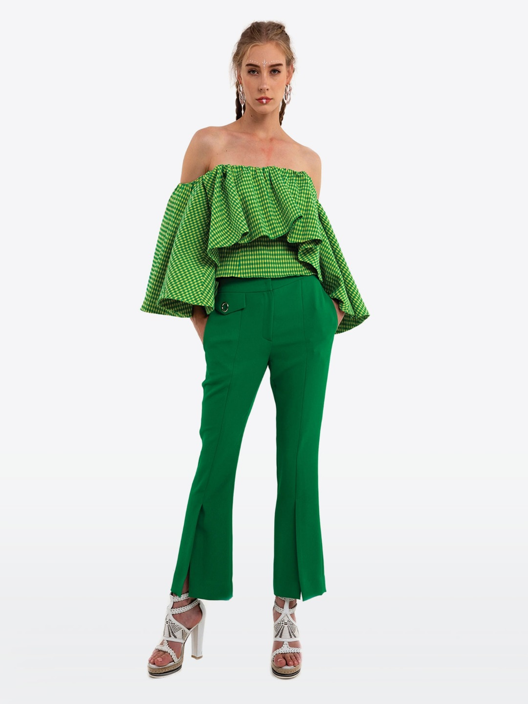 GREEN OFF- SHOULDER SMOKING BLOUSE