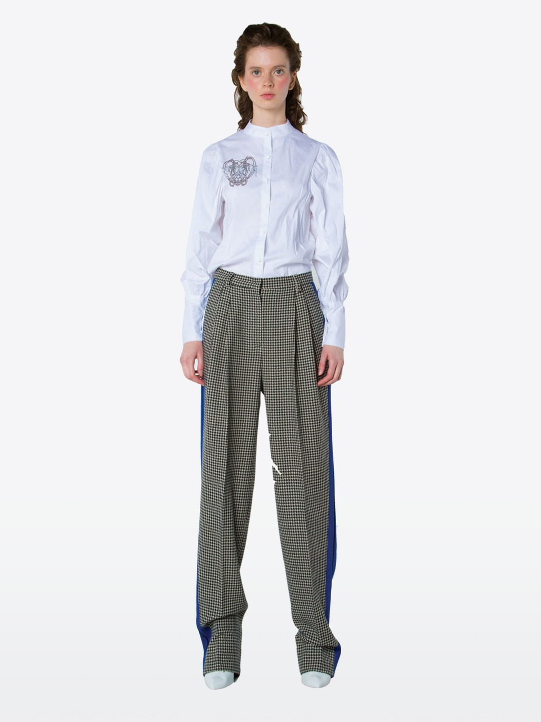 BLUE COMBI CHECK PANTS