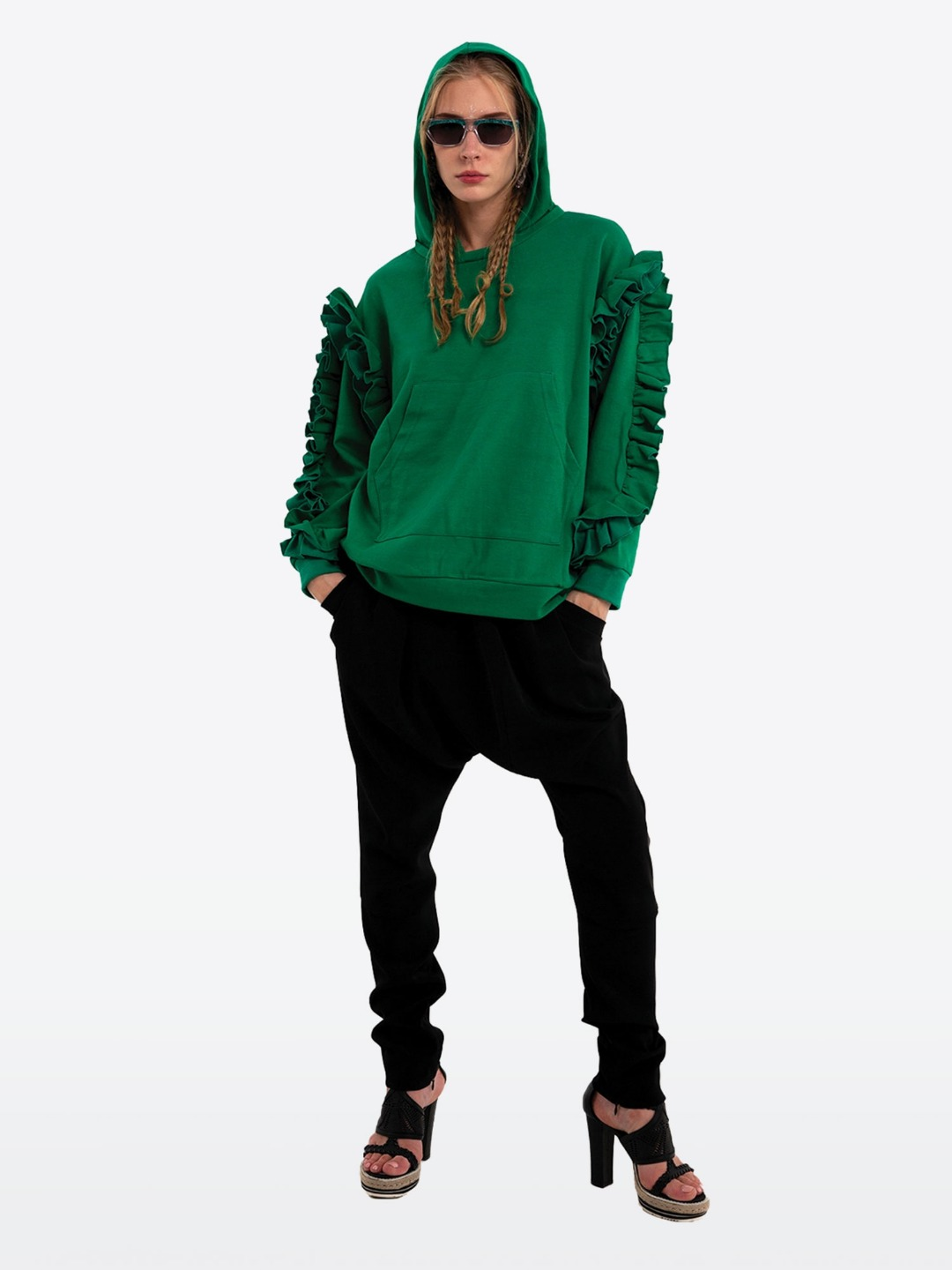 GREEN RUFFLE HOOD SHIRT