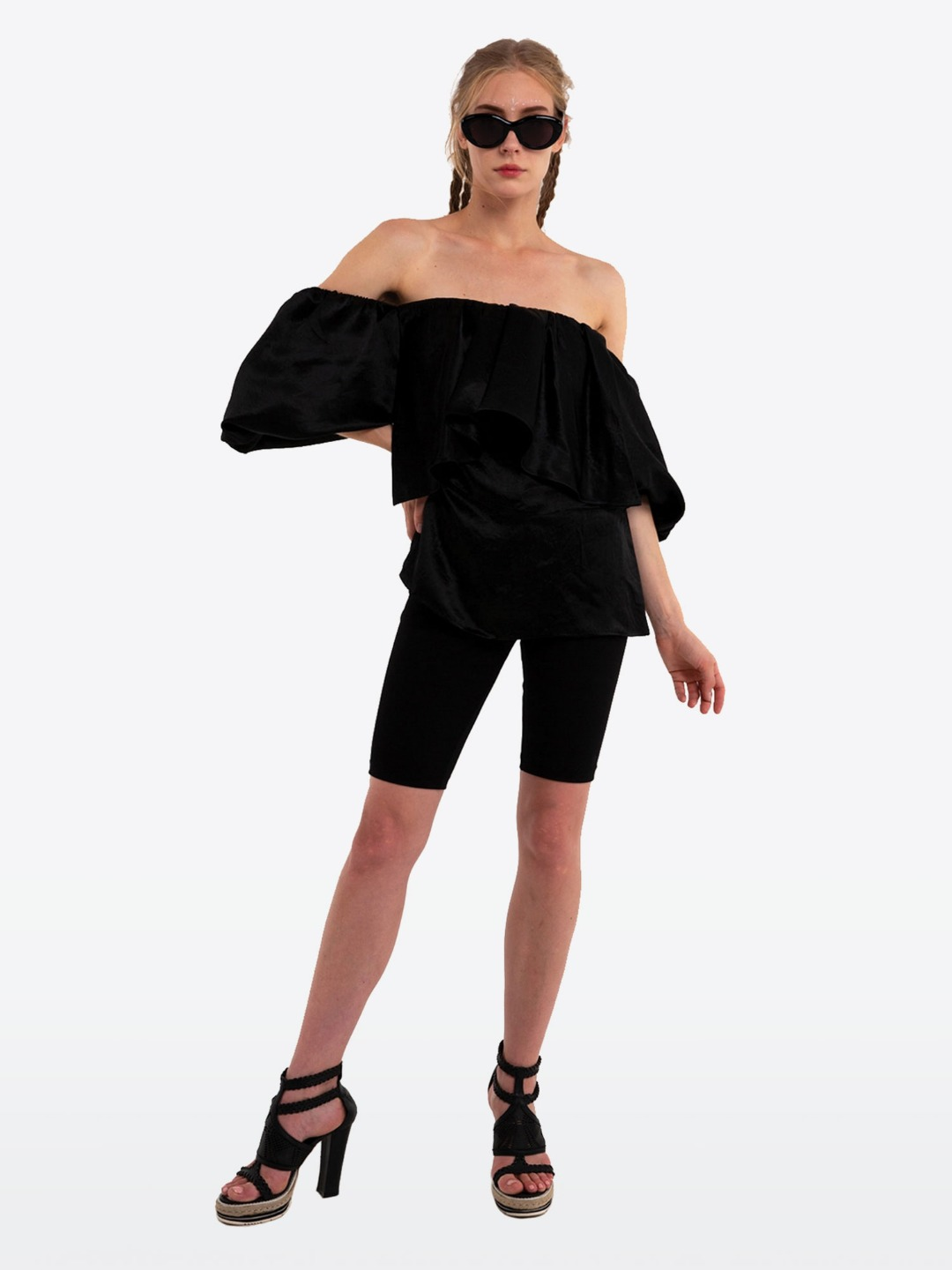 BLACK OFF- SHOULDER SMOKING BLOUSE