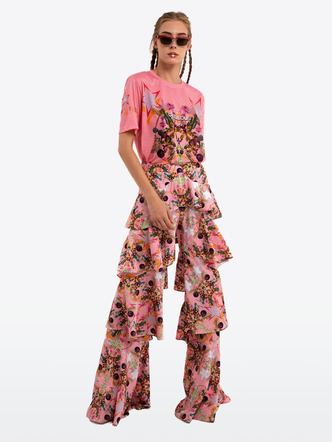 PEACH CHANDELIER RUFFLE PANTS
