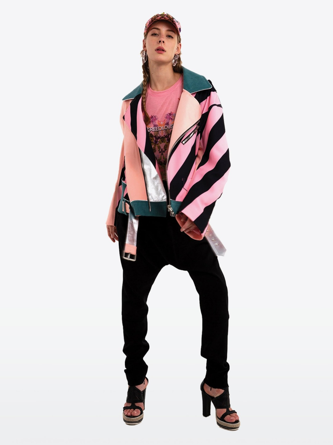 PINK BLACK STRIP BIKER JACKET