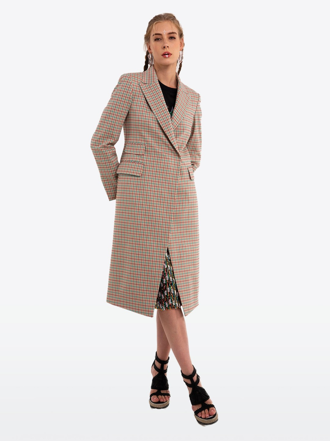 BEIGE MULTI CHECK COAT