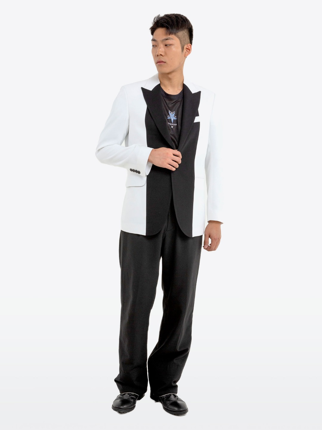 BLACK COMBI WHITE JACKET-룩북용