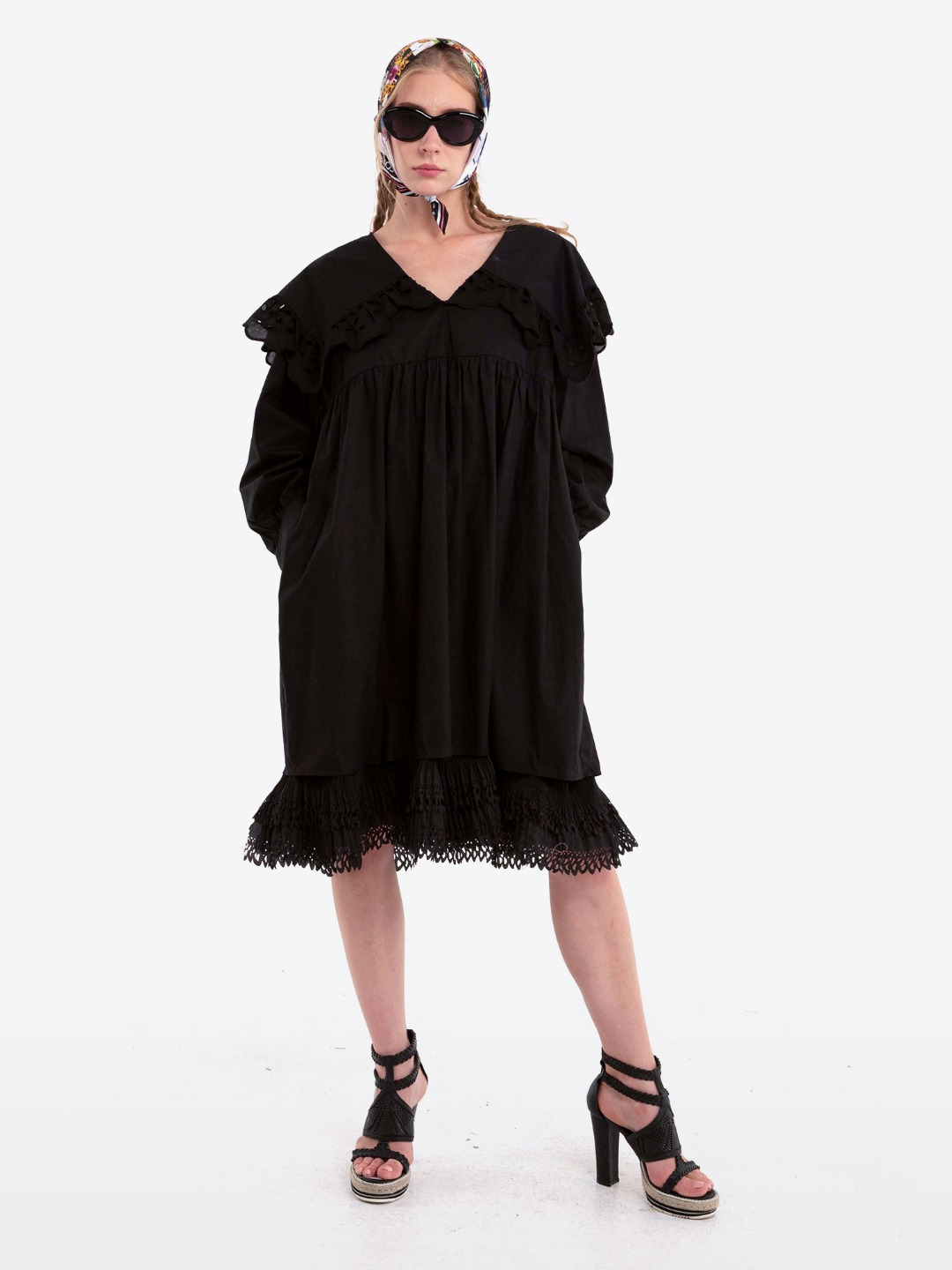 BLACK LONG RUFFLE DRESS